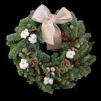 Couronne de Noël en sapin naturel - Décorée (Accessoires non fournis)