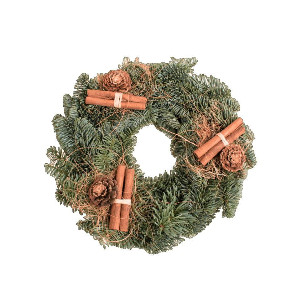 Couronne de l'Avent décorée (pommes de pin, cannelle) - 25cm