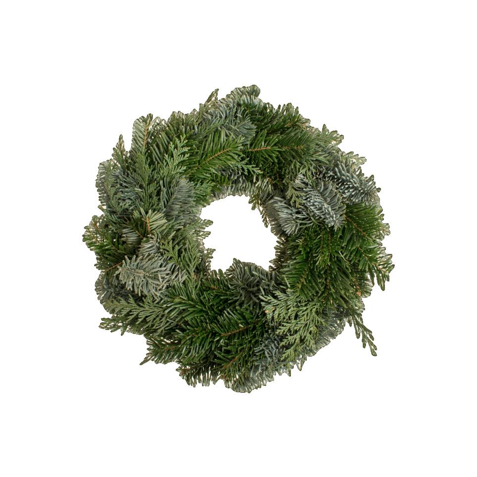 Couronne de Noël en sCouronne de Noël - Mix sapins (Nordmann, Nobilis, Epicéa Pungens)apin naturel - Vue de face