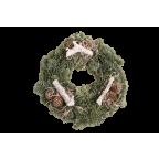 Couronne de l'Avent décorée (pommes de pin, bâton bois) - 25cm