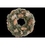 Couronne de l'Avent décorée (pommes de pin, mousse) - 25cm