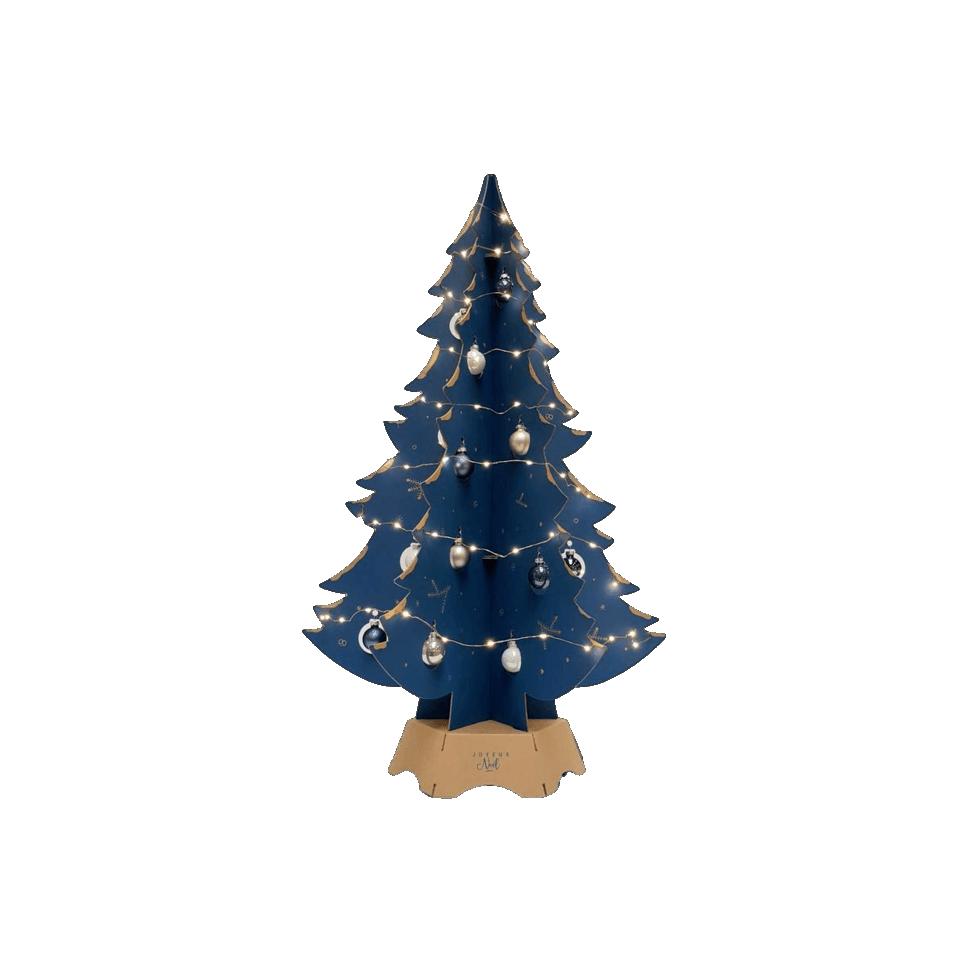 Sapin en carton (Impression bleu, pied blanc)